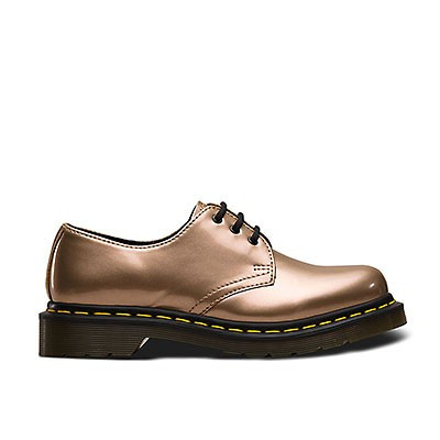 Veganer Schnürschuh | DR. MARTENS 1461 3-Eye Shoe Chrome Paint Gold